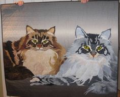 """""""Cat's Meow"""" was designed and quilted by Betty Jo Quinn of New Hampshire"""