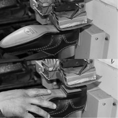 The shoe is bolted heel working from inside with a special machine. #franceschetti handmade shoes Made in Italy
