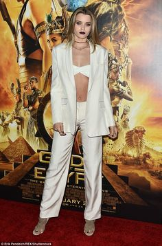 Fashion statement: Abbey Lee Kershaw modelled her taut abs in a revealing white bralet and. Courtney Eaton, Abbey Lee Kershaw, Gerard Butler, Female Bodies, Egypt, Red Carpet, Blazers, Abs, Sexy
