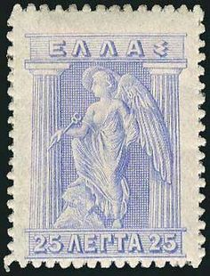 1911 Engrave greece stamp in blue Rare Stamps, Vintage Stamps, Ghibli, Prussian Blue, First Day Covers, Stamp Collecting, Mail Art, My Stamp, Card Games