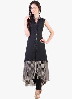 Buy Libas Black Printed Kurta for Women Online India, Best Prices, Reviews | LI467WA26ISJINDFAS