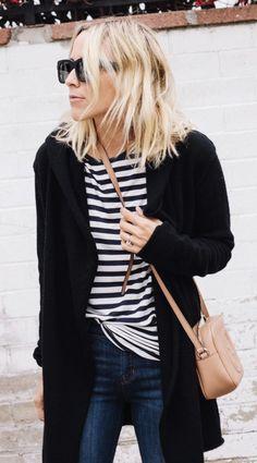 #winter #fashion /  Black Coat   Striped Tee
