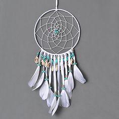 Boho Home Decor | Ricdecor Boho Dream Catcher Handmade shell And Turquoise Pendant White Feather DreamCatcher Wall Hanging Car Hanging Home Decor (Dia 5.9