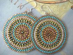 Beadwork Disc Earrings Big Bold Turquoise by WorkofHeart