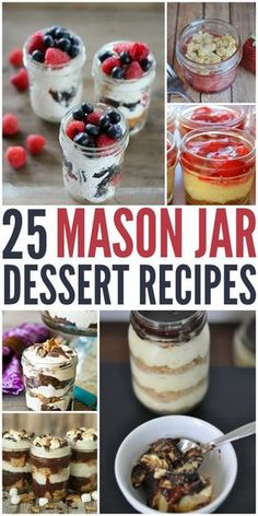 Summer is right around the corner and I'm always looking for easy, but fun desserts to create at home. Here is a yummy list of 25 mason jar recipes that are great for anytime! - abccreativelearni...
