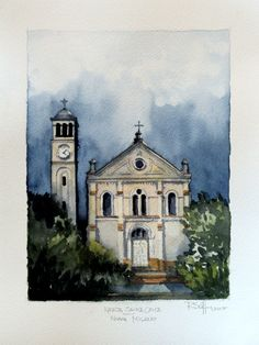 Ig. Santa Cruz - Nova Milano / RS - Aquarela sobre papel Hahnemuhle Cezanne 24 x 32cm
