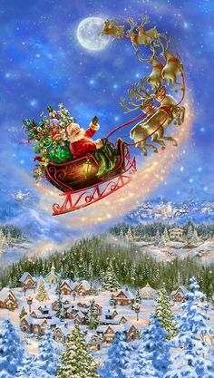Your place to buy and sell all things handmade 23 Fabric Panel - Timeless Treasures Digital Santa Claus Sleigh Reindeer Town Christmas Scenery, Christmas Images, Christmas Art, Christmas Holidays, Beautiful Christmas Pictures, Christmas Wreaths, Merry Christmas Gif, Christmas Costumes, Christmas Stuff