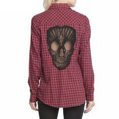 Sugar Skull Hollow Knitted Check Shirt
