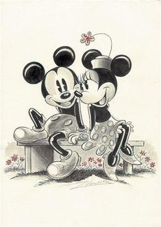 Mickey & Minnie Mouse – The admiration Mickey Minnie Mouse, Mickey Mouse Kunst, Disney Micky Maus, Minnie Mouse Drawing, Mickey Mouse Drawings, Mickey And Minnie Love, Mickey Mouse Pictures, Mickey Mouse Cartoon, Mickey Mouse And Friends