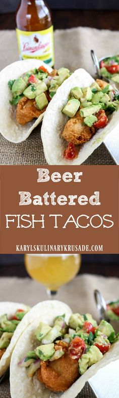 Beer Battered Fish Tacos. This batter replaces some flour with cornmeal and cornstarch, for a very light, airy and crispy crust. You'll want to make these fish tacos all the time