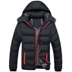 Fabric Herren Einfarbig Bomber Jacke Winterjacke Kapuze Taschen Reißverschluss