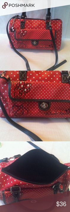Minnie Mouse Polka Dot Purse Disney Parks brand! Very cute and wearable, only one small flaw barely noticeable on bottom right corner, pictured Disney Bags