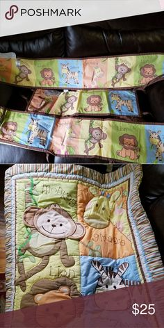 Blanket set and 4 crib ties for crib Comes with matching sheet Other