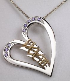 Gift for a Broken Heart - Sterling Silver Broken Heart Mended with 14k Yellow Gold and adorned with tiny purple stones - A gift of healing