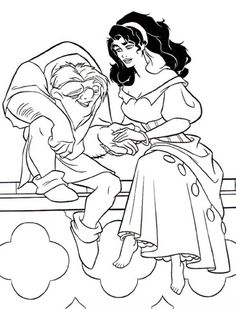 Quasimodo-Holding-Esmeralda-Hand-in-The-Hunchback-of-Notre-Dame-Coloring-Page.jpg (600×786)
