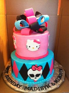 MONSTER HIGH AND HELLO KITTY CAKE | Cakes by Virgo | Kid's Birthday Cakes