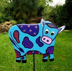 """Garten-+und+Pflanzenstecker++""""Bunte+Kuh+-+türkis""""+von+KIMAMA-design++auf+DaWanda.com"""