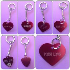 "Gifts 4 Your PFF❤️ Keyrings These pink heart key rings are perfect for the posh addictGet one for yourself, or one for your PFF. Choose from the three designs. First one says"" Its a posh thing, you wouldn't understand"" the second one says "" PFF, Posh Love, and the third one says Posh Diva with a bling of crystal on it. Makes a great gift 3 Styles Jewelry"