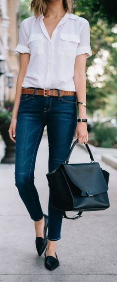 Business outfit ideas you don't want to miss. Find inspiration in these awesome outfit ideas and impress on every man… Casual Chic Outfits, Casual Chique, Business Casual Outfits, Work Casual, Dress Casual, Women's Casual, Casual Shirts, Denim Shirts, White Shirts