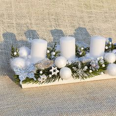 Hydrangea / Bielo-strieborný adventný svietnik (so sviečkami) Hydrangea, Advent, Table Decorations, Furniture, Home Decor, Decoration Home, Room Decor, Hydrangeas, Home Furnishings
