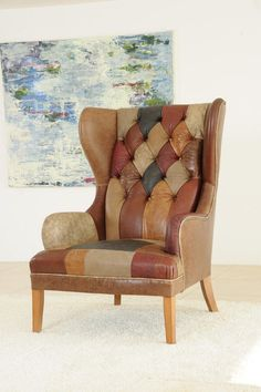 James and Rose's Clarence wingchair in Patchwork leather