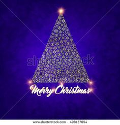 Abstract snow flake tree and word Merry Christmas with bokeh background texture. Modern concept greeting card design.