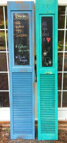 upcycle old bifold louvre doors in to message boards for your home!  www.dovetailfurnishings.com