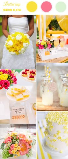 buttercup bright yellow wedding color inspiration ideas 2016 another option! Yellow Wedding Colors, Spring Wedding Colors, Wedding Color Schemes, Trendy Wedding, Wedding Styles, Wedding Blog, Dream Wedding, Wedding Ideas, Wedding Decor
