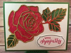 This Rose Red and Old Olive Rose Sympathy card uses Stampin' Up!'s Rose Garden Thinlits & Rose Wonder stamp set, Gold Wink of Stella, Aqua Painter, Gold Foil paper, and Watercolor Paper.  Check out the video for this technique!  www.stampwithjennifer.blogspot.com