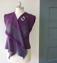 Purple and Gray Alpaca Cascade Vest by ZoZoArtwear on Etsy, $295.00