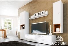 Living room with tpuch of Scandinavia, white elegance and simple composition - Living room interior Ikea Living Room, Living Room Interior, Modern Tv Wall, Living Modern, White Elegance, Stage Decorations, Living Room Designs, Modern Design, Minimalism