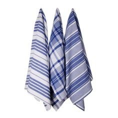 With summer feasts comes an influx of dishes to dry and spills to clean up. Dry and clean in style with these blue kitchen towels. Hand-woven in India, the set includes three towels, each boasting a di...  Find the Blue Striped Kitchen Towels - Set of 3, as seen in the The Renovated Mill House Collection at http://dotandbo.com/collections/the-renovated-mill-house?utm_source=pinterest&utm_medium=organic&db_sku=DNB0010-blue
