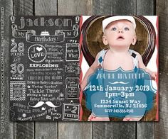 Blue Chevron Banner The Big One First Birthday Invitation Boy - Birthday invitation for one year baby