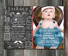 First Birthday Invitation One Year - First Birthday Chalkboard Invitation - Custom Babys 1st Birthday Invitation Plus FREE Web Version via Etsy