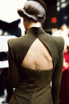 updo + backless dress