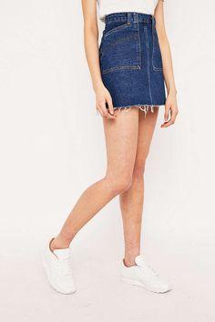 BDG Frayed Hem Denim A-Line Utility Skirt
