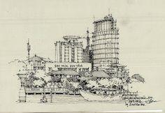 Ký họa bút sắt của Đinh Hải |Diễn Họa Kiến Trúc