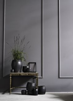 grey painted walls plus trim paired with gold hall table and black pots