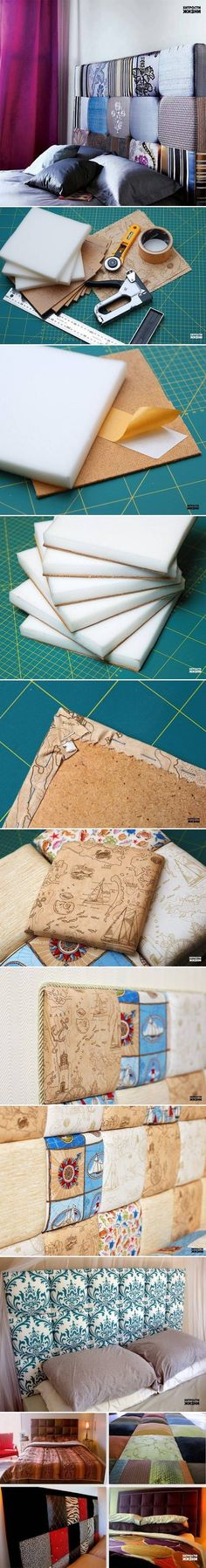 DIY Fabric Headboard   #DIY #PROJECTS #BED, #CRAFT, #IDEAS, #PROJECTS, #HANDMADE, #HEADBOARD
