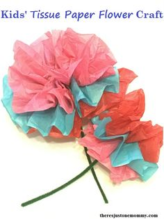 Diy tissue paper flowers for kids to make with pipe cleaners how to make a tissue paper flower simple flower craft for kids these simple flowers are easy to make and would be perfect to brighten someones day mightylinksfo