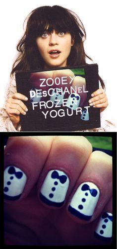 El nail art de Zoe Deschanel.