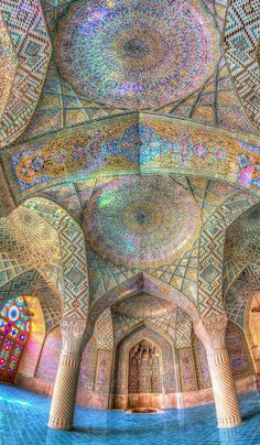 IRAN most beautiful mosques!Mesmerizing Mosque Ceilings That Highlight the Wonders of Islamic Architecture Art Et Architecture, Islamic Architecture, Beautiful Architecture, Beautiful Buildings, Geometry Architecture, Cathedral Architecture, Historical Architecture, Beautiful Mosques, Beautiful Places