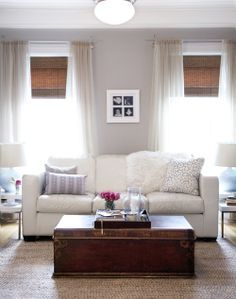 white truffle paint behr | The Elegant Abode Soft gray walls paint color, white leather 3 cushion ...