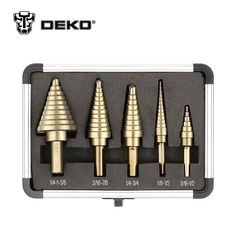 DEKO 5 pçs/set HSS Cobalt Buraco Múltipla 50 Tamanhos Broca Passo Cone Broca Bits Set com Caixa De Alumínio