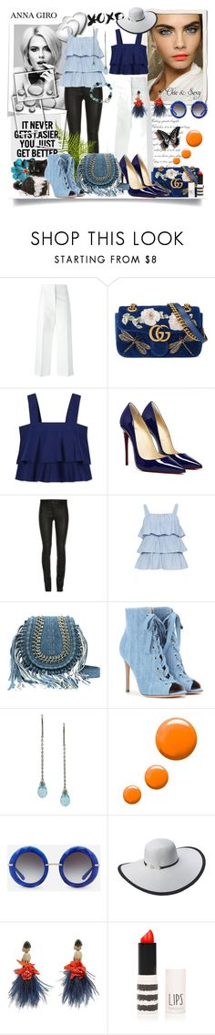 """Dark & light blue"" by annagiro ❤ liked on Polyvore featuring Marni, Gucci, Tory Burch, ElleSD, Gianvito Rossi, Topshop, Dolce&Gabbana, Scala, Lizzie Fortunato and Rimini"