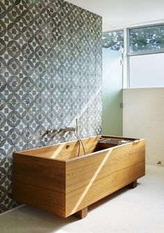 Cement #tile & freestanding wood tub