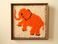 Framed Vintage Artwork  Shag Elephant  Latch Hook by illkniterate, $75.99