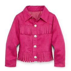 Fuchsia fringe jacket, $32 by Little Maven