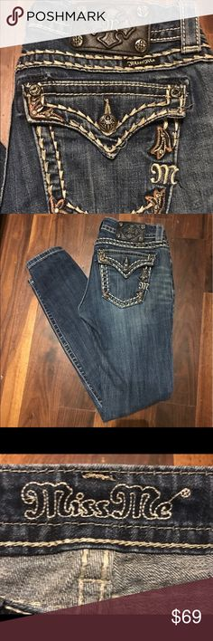 """MISS ME Skinny Fleur de Lis Embellished Jeans From my own closet. Miss Me skinny embellished jeans with Fleur de Lis  buttons and rivets. 32"""" inseam and 2% elastane for stretch. Jeans Skinny"""