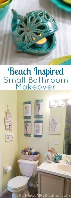 Beach Themed Bathroom  A Small Space Makeover